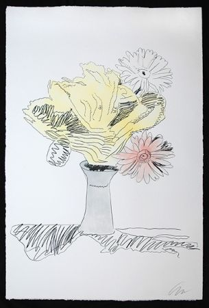 Sérigraphie Warhol - Flowers (Hand-Colored)