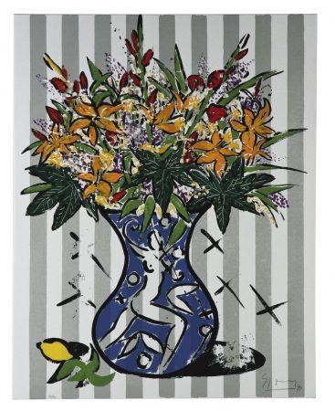 Sérigraphie Szczesny - Flowers on Stripes