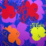 Sérigraphie Warhol (After) - Flowers orange violin