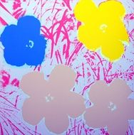Sérigraphie Warhol (After) - Flowers white & pink