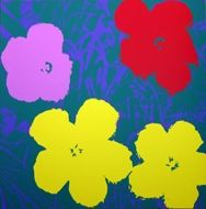 Sérigraphie Warhol (After) - Flowers yellow