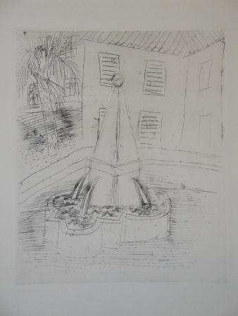 Gravure Dufy - Fontaine à Vence