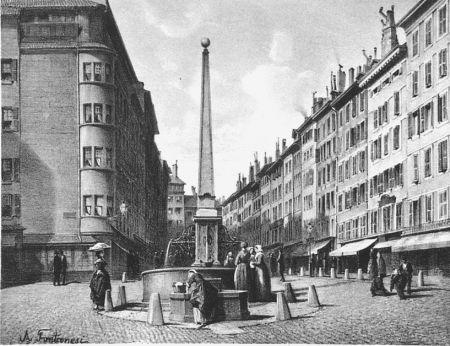 Lithographie Fontanesi - Fontaine et rue de Coutance