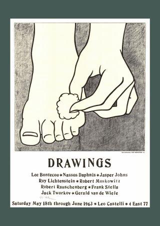 Lithographie Lichtenstein - Foot Medication (Castelli Mailer) Hand Signed Poster 1963