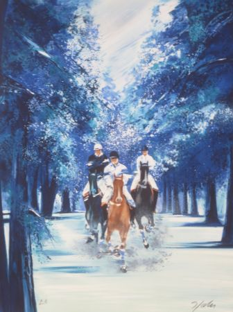 Lithographie Spahn - Forêt bleue