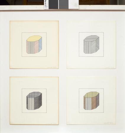 Sérigraphie Lewitt - Forme dérivée d'un cube