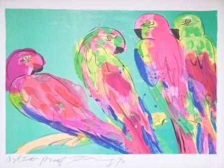 Lithographie Ting - Four parrots