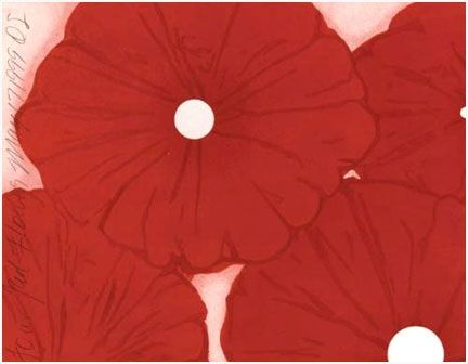 Gravure Sur Bois Sultan - Four Red Flowers, May 17, 1999