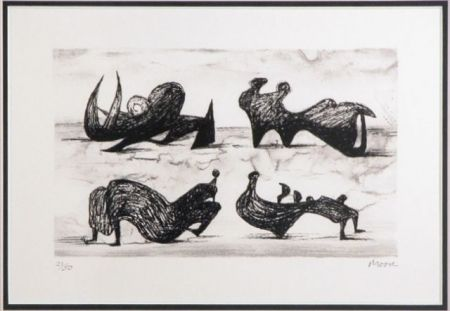 Lithographie Moore - Four silhouette figures