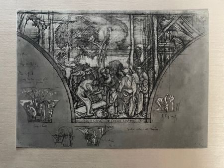 Lithographie Brangwyn   - Frank Brangwyn - Limited Edition Lithograph entitled 'Building a New Home' 1927
