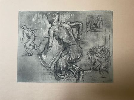Lithographie Brangwyn   - Frank Brangwyn - Limited Edition Lithograph entitled ' Le scieur'