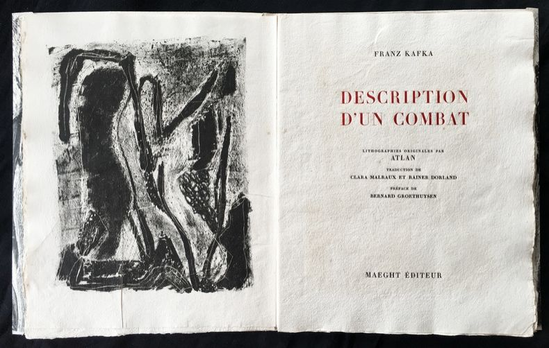 Livre Illustré Atlan - , Franz Kafka. DESCRIPTION D'UN COMBAT. Lithographies originales d'Atlan.