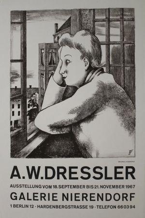 Lithographie Dressler - Frau am Fenster