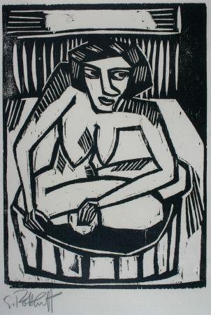 Gravure Sur Bois Schmidt-Rottluff - Frau in der Wanne (Woman in Bath)
