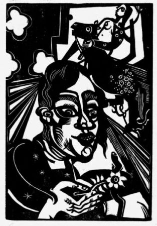 Gravure Sur Bois Campendonk - Frau Mit Blume / Woman With Flower