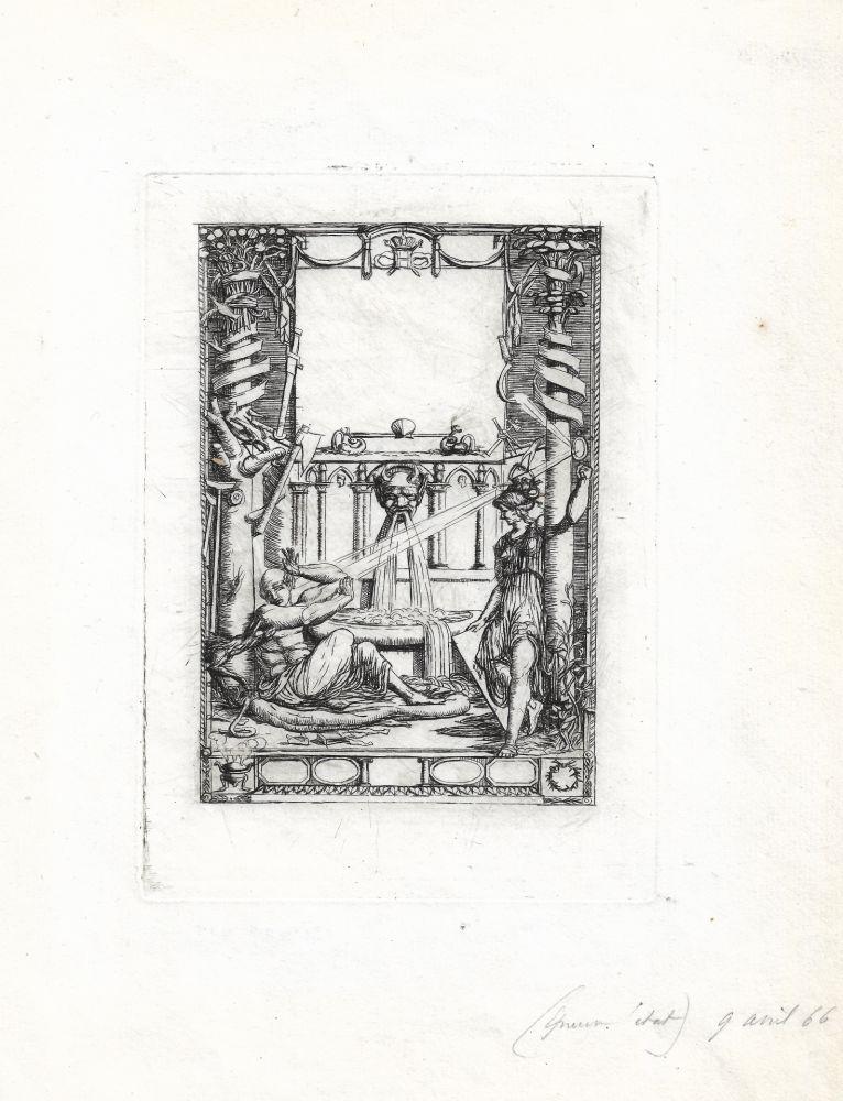 Gravure Meryon - Frontispice pour le catalogue de l'oeuvre de Thomas de Leu