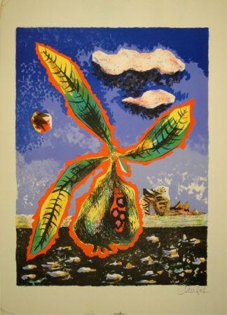 Lithographie Lurcat - Frucht mit Blättern in phantastischer Landschaft