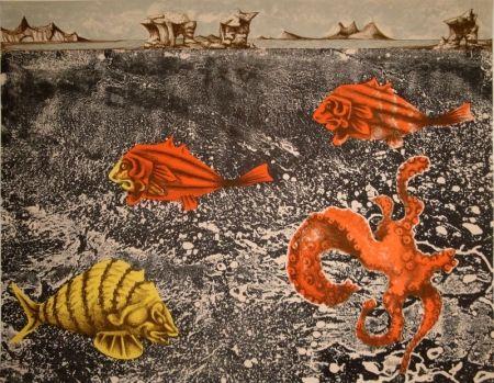 Lithographie Lurcat - Fruits de mer