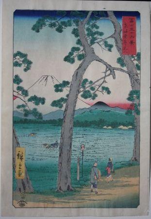Gravure Sur Bois Hiroshige - Fuji on the left of the Tokaido