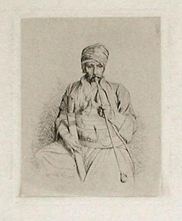 Gravure Gérôme - Fumeur égyptien au turban