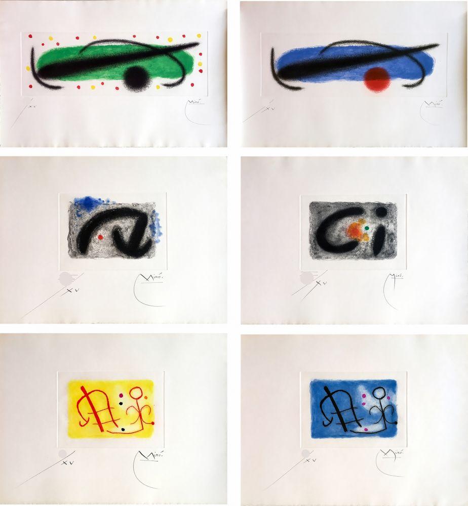 Eau-Forte Et Aquatinte Miró - FUSÉES. LA SUITE COMPLÈTE DES 15 AQUATINTES SIGNÉES (BRODER 1959).