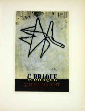 Lithographie Braque - G Braque  Galerie Maeght  1956