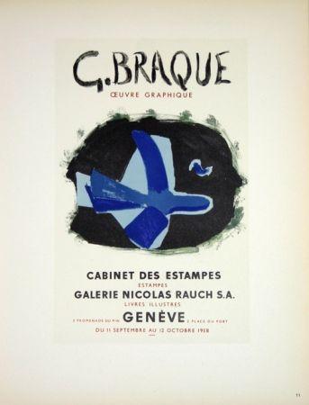 Lithographie Braque - G. Braque  Oeuvres Graphiques Nicolas Rauch  Genéve  1958