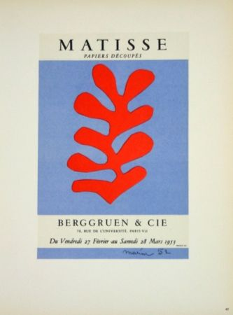 Lithographie Matisse - Galerie Berggruen 1953