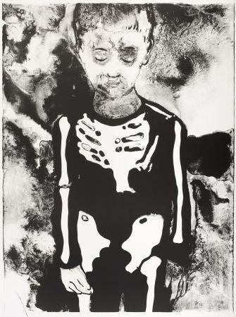 Lithographie Pétrovitch - Garçon au Squelette