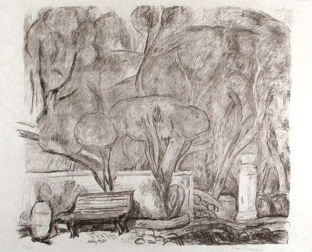 Lithographie Purrmann - Garten in Levanto