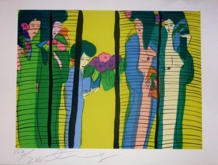 Lithographie Ting - Geishas et fleurs