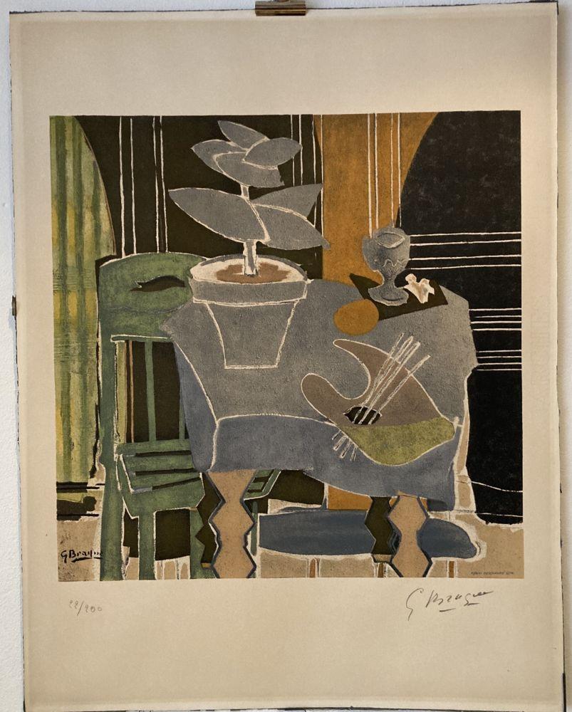 Lithographie Braque - Georges Braque (1882-1963) Nature morte à la palette, 1960.