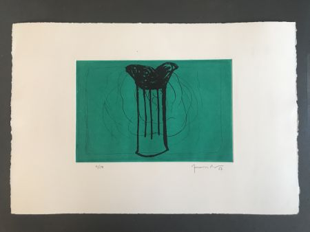 Aquatinte Hernandez Pijuan - Gerro sobre verd