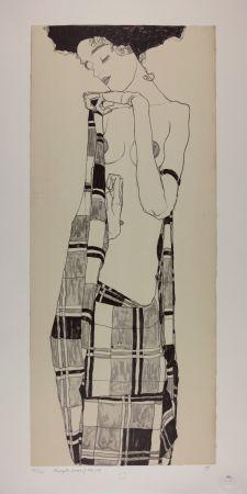 Lithographie Schiele - GERTI SCHIELE in a Plaid Garment, 1909   Lithographie n° 1/40