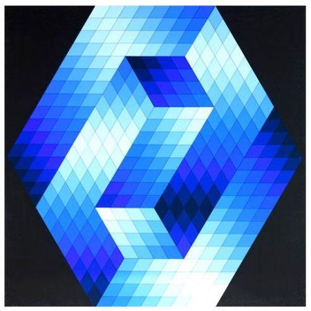 Sérigraphie Vasarely - Gestalt Blue