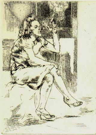 Eau-Forte Bishop - Girl Blowing Smoke Rings