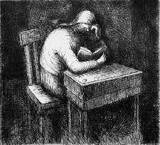 Eau-Forte Et Aquatinte Moore - Girl Doing Her Homework V