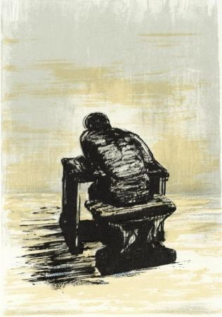 Lithographie Moore - Girl Seated At Desk Ii