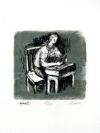 Lithographie Moore - Girl Seated at Desk V