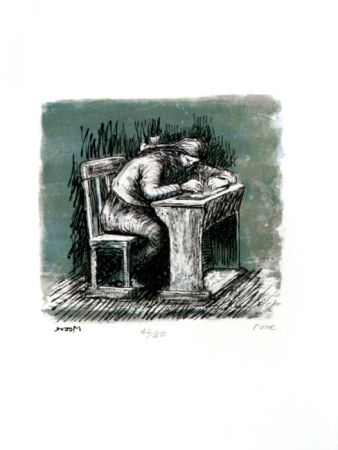 Lithographie Moore - Girl Seated at Desk VI