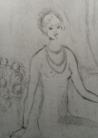 Gravure Van Dongen - Girl with a pearl necklaces