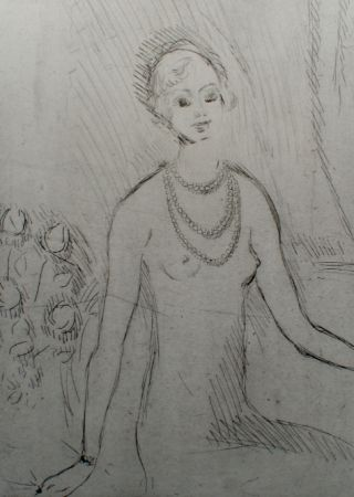 Gravure Van Dongen - Girl with a pearl necklaces