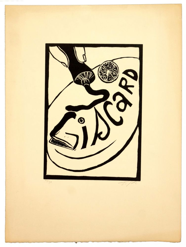 Linogravure Topor - Giscard