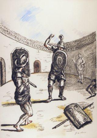 Lithographie De Chirico - Gladiatori nell'arena