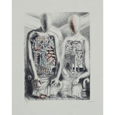 Lithographie De Chirico - Gli Archeologi IV (from Suite