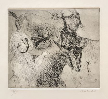 Gravure Toledo - Goats with Woman