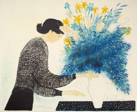 Lithographie Brasilier - Grand bouquet du matin