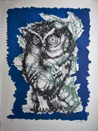 Lithographie Lurcat - Grand hibou et feuillages
