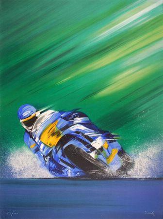 Lithographie Spahn - Grand prix de Moto