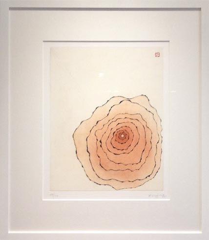 Aquatinte Minjung - Grande fleur orangée